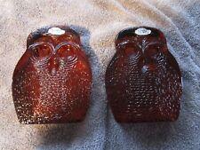 LOVELY~ Vtg Mid Century Modern [Blenko Amber Glass Owl  Bookends]