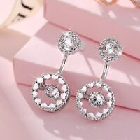 18k white gold gf made with SWAROVSKI crystal stud round earrings 925 silver pin