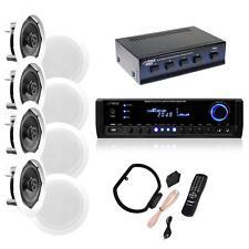 "Pyle KTHSP595S (4) Pairs of 150W 5.25"" In-Wall/Ceiling Stereo Speakers,300W Rcvr"