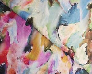 Paint splodge Viscose dressmaking fabric 140cm wide rayon beautiful drape bright