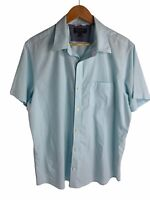 Banana Republic Mens XL Button Down Slim Fit Short Sleeve Shirt Blue