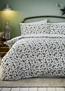 Reversible Holly Print Christmas Duvet Cover Single Double king Bedding