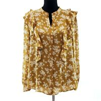 Ann Taylor  Blouse Top Shirt LARGE Mustard Yellow Ruffled Floral Long Sleeve