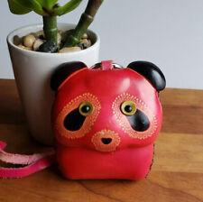Red leather panda bear hard-shell wristlet coin purse figural