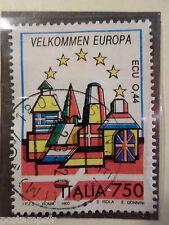 ITALIE ITALIA 1993, timbre 1989, UNITE EUROPE, DRAPEAU DANEMARK oblitéré, FLAG