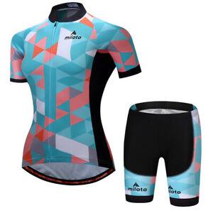 Women Cycling Ropa Ciclismo Bike Short Sleeve Jersey Bib Shorts Set Bicycle Girl