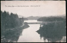 MORRISVILLE VT Lake & 'New' Dam Vintage B&W Postcard Old Vermont PC Post Card
