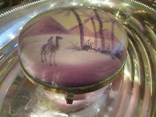 ancienne boite coffret bonbonniere verre peint decor pyramides orientaliste