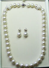 NECKLACE-EARRING 16.1mm!! SET SOUTH SEA PEARLS+18ct WHITE GOLD CLASP/STUDS +CERT