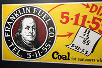 Ben Franklin Coal Cardboard Trolley Sign C 1930s Americana Mining Interest