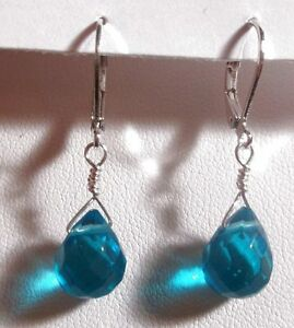 Faceted Apatite Blue Green Quartz Briolette & Silver Leverback Earrings