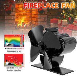 4 Blade Fireplace Stove Top Fan Heat Powered Eco-Friendly Log Wood Burner Top
