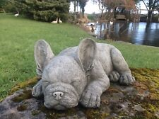 STONE GARDEN LYING FRENCH BULLDOG / FRENCHIE DOG PUPPY ORNAMENT STATUE
