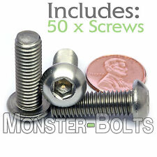 8mm - 1.25 x 25mm - Qty 50 - Stainless Steel BUTTON HEAD Socket Cap Screws A2 M8