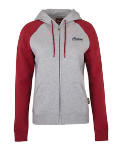 INDIAN MOTORCYCLE WOMENS GRAY RED DIAMANTE ICON FULL ZIP HOODY sizes S M L XL