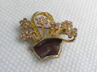 Flower Basket Pin Brooch Purple Rhinestones Enamel Gold Tone Metal Garden Plant