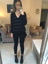 NEW See by Chloe Angora Black Fluffy Glitter Jumper Small 8 10 Oversized