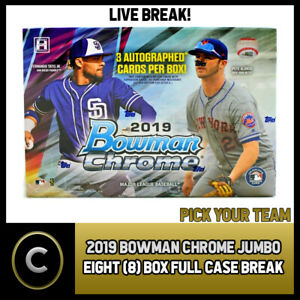 2019 BOWMAN CHROME JUMBO BASEBALL 8 BOX FULL CASE BREAK #A351 - PICK YOUR TEAM