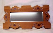 Vintage Mirror Wood Frame Beveled Edge Painted Heart Design Country Decor