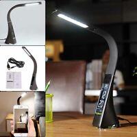 LED Dimmable Reading Bedside Lamp Table Desk Light Calendar Clock Touch