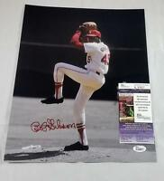BOB GIBSON SIGNED ST LOUIS CARDINALS 11X14 METALLIC PHOTO HALL OF FAME 81 JSA 27