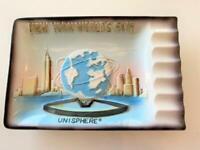 "NY World's Fair 1964 New York Unisphere US Steel Ceramic Ashtray Japan Label 7"""