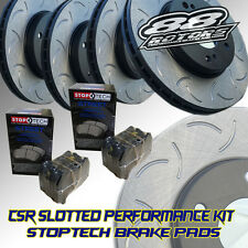 Front+Rear Slotted Only CSR [88ROTORS] Brake Rotors & Stoptech Pads TL Base & S