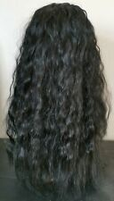 black curly wavy frizzy fringe very long hair wig fancy dress cosplay free cap
