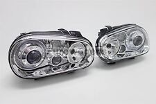 VW Golf MK4 98-03 Chrome Angel Eyes Twin Halos Headlights Set Pair Left Right