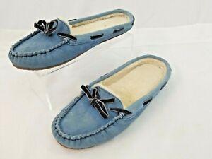 VTG L.L. BEAN Women's Hearthside Blue Shearling Slipper EUC Size 7 Medium Maine