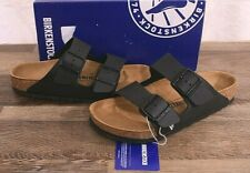 Birkenstock Arizona Birko-Flor Sandals Women's 7 Med Men's 5 Cork Shoes Black 38