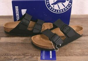 Birkenstock Arizona Birko-Flor Sandals Women's 7 Med Men's 5 Cork Shoes Black 38