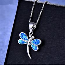 Fashion Woman 925 Silver Dragonfly Blue Fire Opal Charm Pendant Necklace Chain