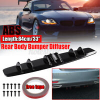 Universal Car Shark Fin Wing Lip Rear Bumper Diffuser Spoiler Gloss Black //