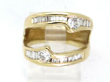 14k Yellow Gold Round and Baguette Diamond Custom Right Hand Ring 1.13ct 7.9g
