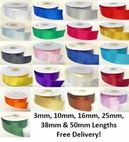 Double Faced Satin Ribbon High Quality 3mm 10mm 16mm 25mm 38mm 50mm Cut Lengths