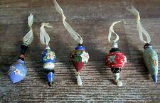 "Set Of 5 Miniature Metal Enameled Cloisonne ""Keepsake"" Christmas Ornaments."