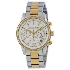 Michael Kors Ritz White Dial Ladies Two Tone Chronograph Watch MK6474