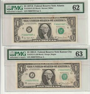 Matching low Serial Numbers PMG UNC 63 & 62 with stains  FRNs!