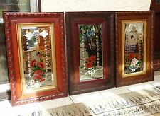 3 Vintage Victorian Mirrors Oak Wood Frame Hand Painted Etched Bevels Spheres