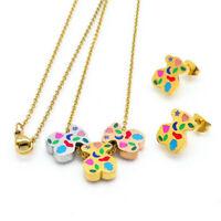 Women Luxury Teddy Bear Jewelry 18k Gold Stainless steel Necklace Earrings Set