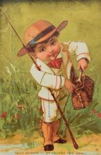 1870's-80's Victorian French Trade Card Adorable Boy Fishing Cane Pole P42