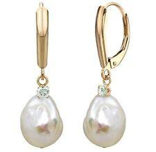 Pearl Earrings 14k Yellow Gold .10cttw Diamond 12-13mm White Baroque Freshwater