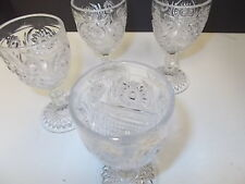 BEAUTIFUL CLEAR GLASS HOBSTAR STEM PRESSED GLASS WINE GLASSES