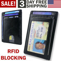 Front Pocket Wallet Leather RFID Blocking ID Credit Card Holder for Men & Women
