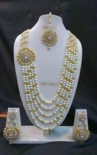 Bollywood Indian Ethnic Gold Plated Fashion Pearl Kundan Designer Jewelry Set