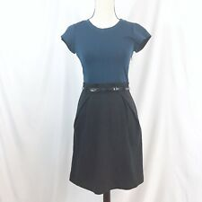 Theory women's career dress size 6 green black two tone sheath with belt