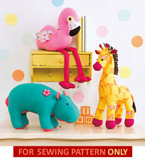 SEWING PATTERN! MAKE KIDS STUFFED~PLUSH TOYS~ANIMALS! HIPPO~GIRAFFE~FLAMINGO!