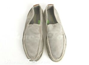 Mens Timberland Off Gray Canvas Slip On Loafers Casual Flat Shoes Size 7.5 M