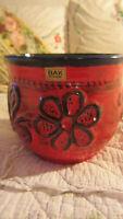 BAY Keramik Übertopf Blumentopf 70er Jahre Fat Lava Rot H 15 cm Ø 17,5 cm